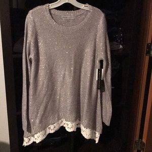 Beautiful Silver Sweater with Sequins XL